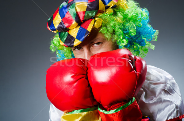 Funny clown with boxing gloves Stock photo © Elnur
