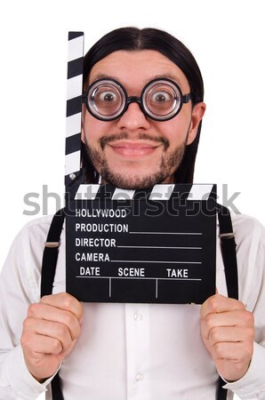Devil with movie board isolated on white Stock photo © Elnur