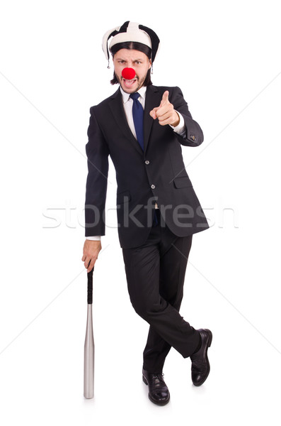 Funny clown businessman isolated on the white background Stock photo © Elnur