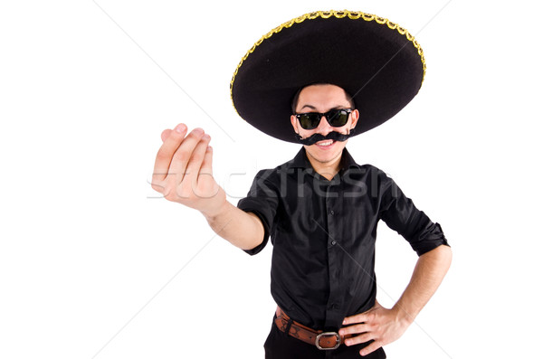 Stock photo: Funny man wearing mexican sombrero hat isolated on white