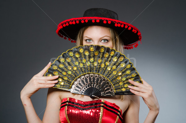 Woman dancing with fans in arts concept Stock photo © Elnur
