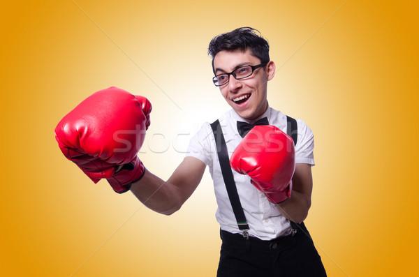 Vicces boxoló izolált fehér kéz mosoly Stock fotó © Elnur