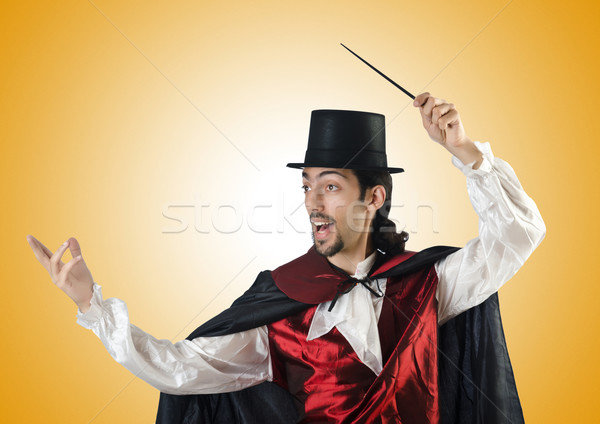 マジシャン 白 手 笑顔 スーツ 黒 ストックフォト © Elnur