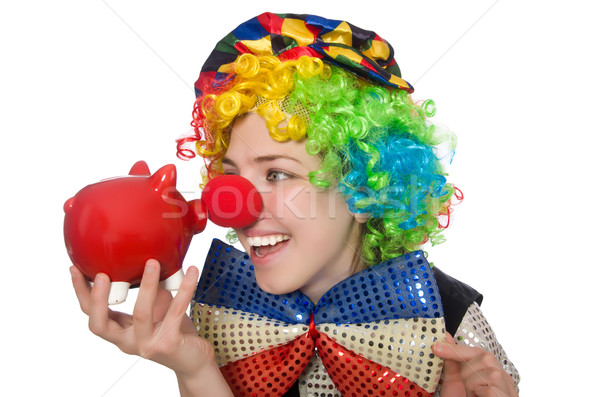Female clown with moneybox isolated on white Stock photo © Elnur