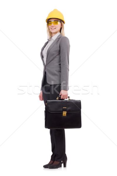 Femenino ingeniero casco maletín aislado blanco Foto stock © Elnur