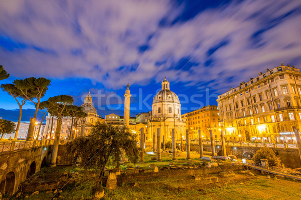 Roman ruines during evening hours in Rome Italy Stock photo © Elnur