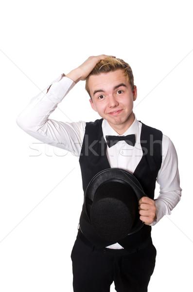 Młody człowiek czarny klasyczny kamizelka odizolowany biały Zdjęcia stock © Elnur