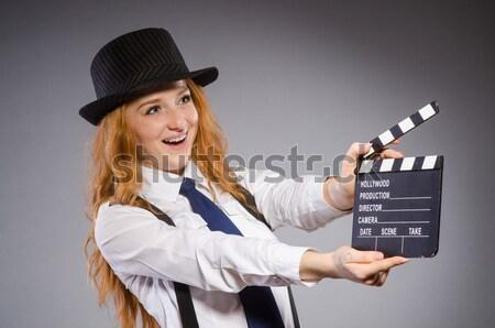 Foto stock: Mulher · filme · isolado · branco · menina · mão
