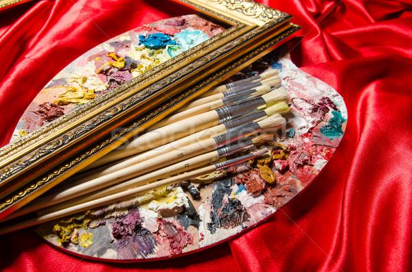 Künstler Palette Kunst Wasser Schule malen Stock foto © Elnur