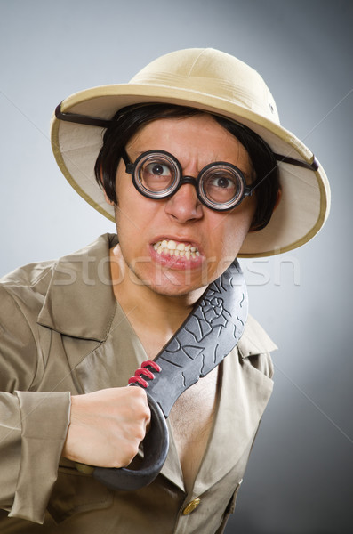 ストックフォト: 男 · 着用 · サファリ · 帽子 · 面白い · 太陽