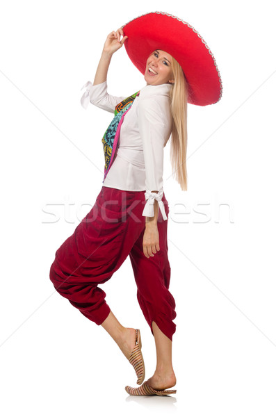 Mexican girl with sombrero dancing on white Stock photo © Elnur