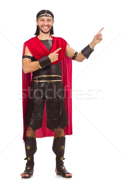 Gladiator odizolowany biały człowiek ubrania żołnierz Zdjęcia stock © Elnur