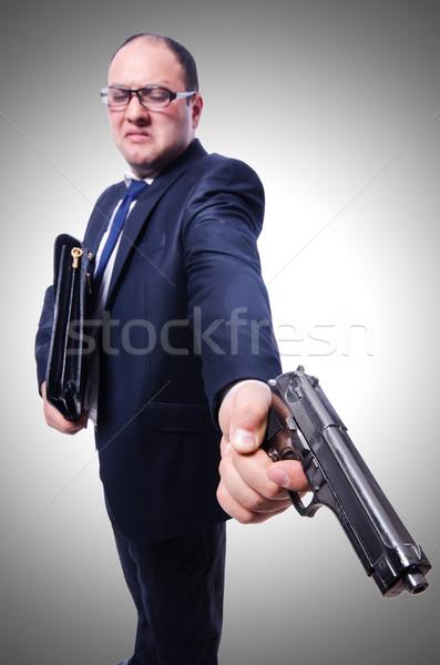 üzletember fegyver izolált fehér üzlet kéz Stock fotó © Elnur
