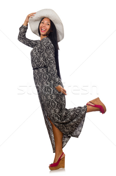 Black hair woman in long gray dress and hat isolated on white Stock photo © Elnur