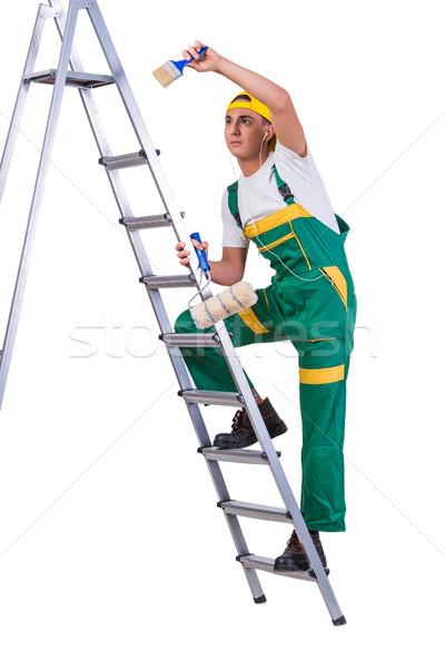 молодые художника скалолазания лестнице изолированный Сток-фото © Elnur