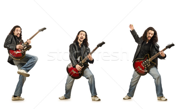 Funny guitar player isolated on white Stock photo © Elnur
