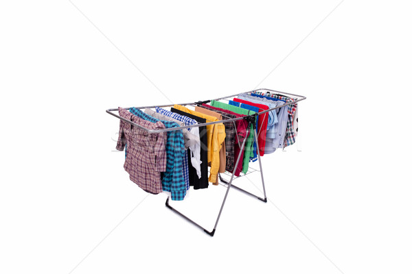The collapsible clotheshorse isolated on the white background Stock photo © Elnur