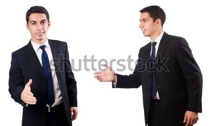 Jungen Geschäftsmann isoliert weiß Hände Arbeit Stock foto © Elnur