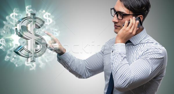 Stock fotó: üzletember · dollár · üzlet · kéz · telefon · mobil