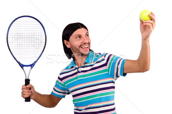 The man playing tennis isolated on white Stock photo © Elnur
