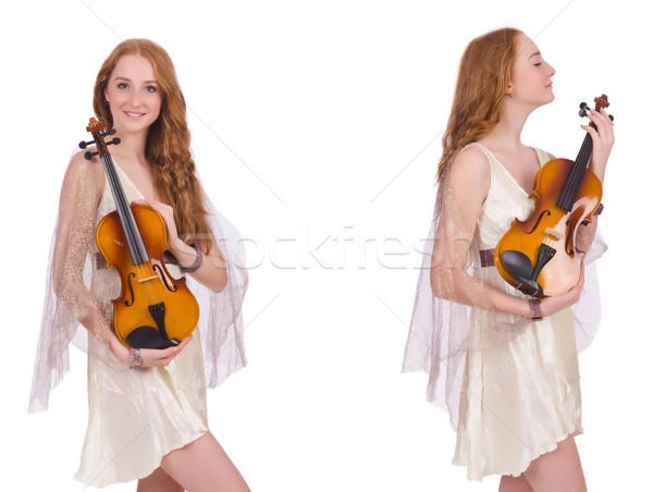 Mulher violino isolado branco arte concerto Foto stock © Elnur
