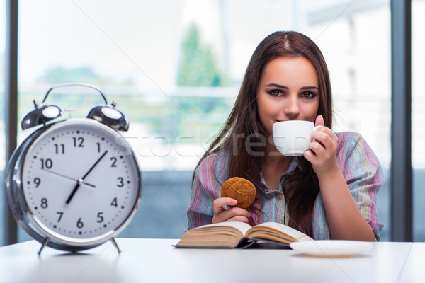 Young girl having breakfast on the morning Stock photo © Elnur