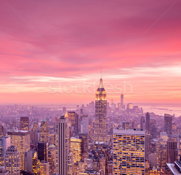Ver novo manhattan pôr do sol negócio céu Foto stock © Elnur