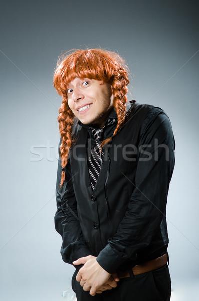 Vicces férfi vörös haj paróka üzlet üzletember Stock fotó © Elnur