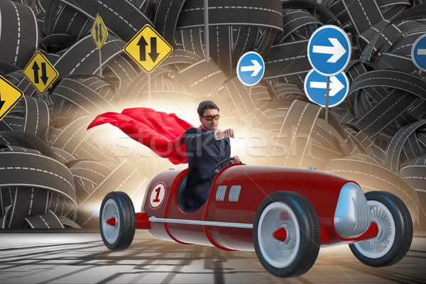 Superhero businessman driving vintage roadster Stock photo © Elnur