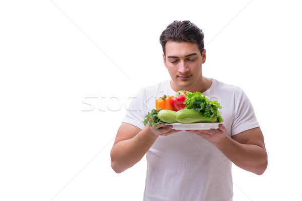 Man gezond eten voedsel gelukkig vruchten gezondheid Stockfoto © Elnur