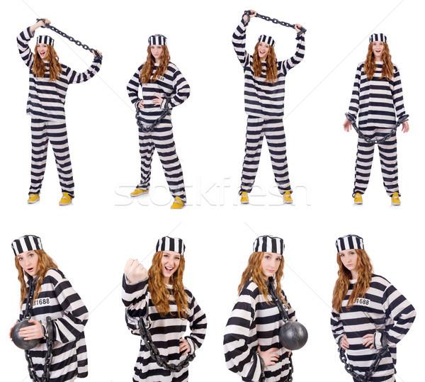 Kadın tutuklu yalıtılmış beyaz arka plan güvenlik Stok fotoğraf © Elnur