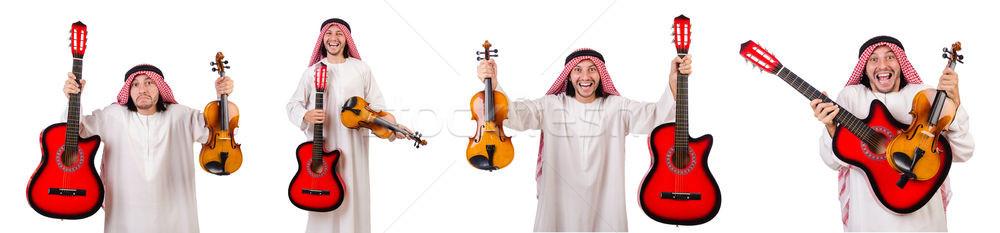 Emiraty muzyk skrzypce gitara odizolowany biały Zdjęcia stock © Elnur