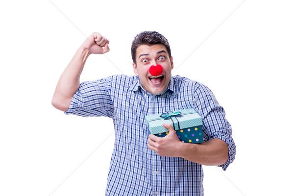 Uomo rosso naso divertente shopping bag Foto d'archivio © Elnur