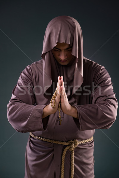 Monk in religious concept on gray background Stock photo © Elnur