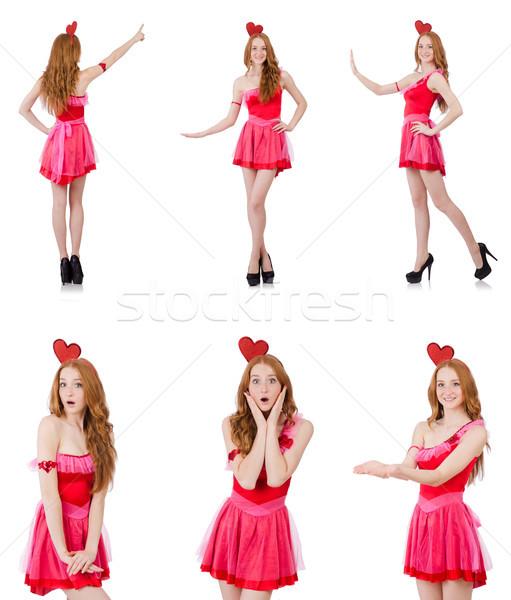 Dość młodych model mini różowy sukienka Zdjęcia stock © Elnur