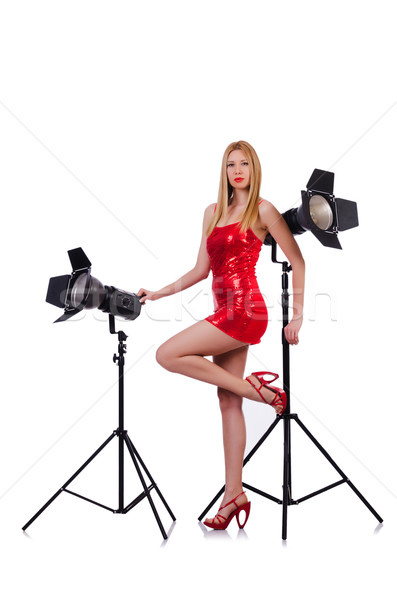 Woman in studio shoot-out Stock photo © Elnur