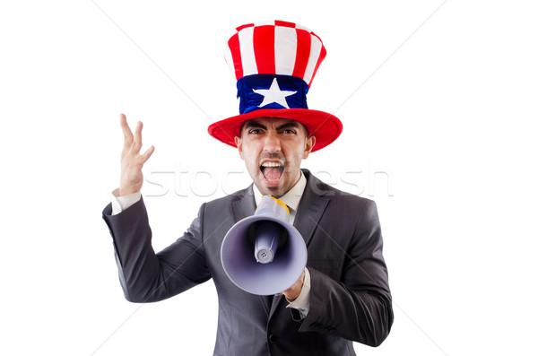 Hombre altavoz americano sombrero negocios trabajo Foto stock © Elnur