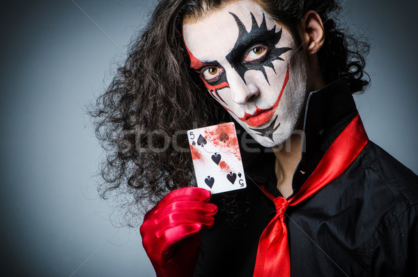 Mal clown cartes sombre chambre visage Photo stock © Elnur