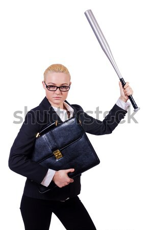 Businessman with sword isolated on white Stock photo © Elnur