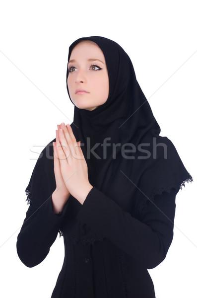 молодые мусульманских женщину молиться изолированный белый Сток-фото © Elnur
