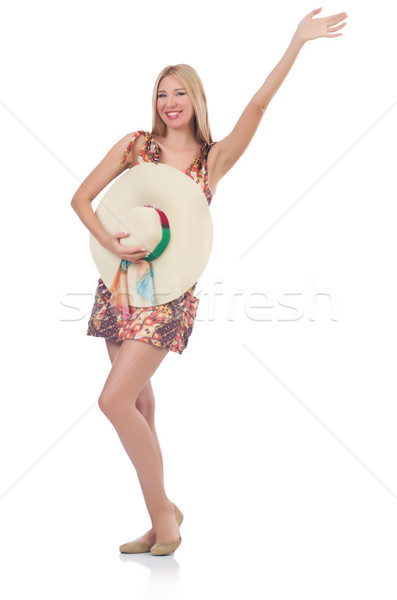Beautiful dancing woman in summer dress  saluting isolated on wh Stock photo © Elnur