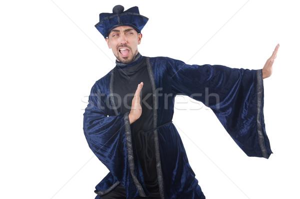 Old martial arts master in blue kimono on white Stock photo © Elnur