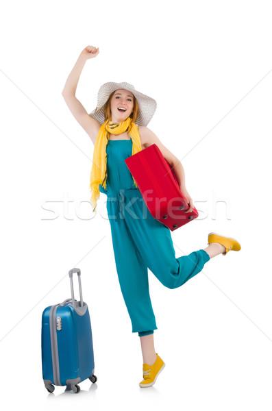 Viaggio vacanze bagaglio bianco ragazza felice Foto d'archivio © Elnur