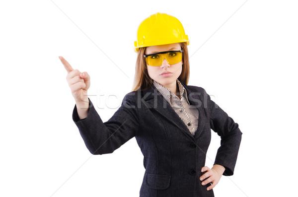 Vrouw bouwvakker geïsoleerd witte gelukkig werk Stockfoto © Elnur