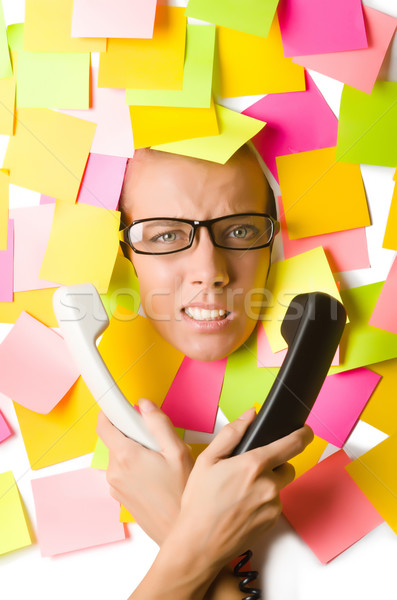 Woman with phone and reminder notes Stock photo © Elnur