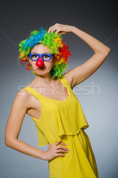 Grappig vrouw clown dressing glimlach gezicht Stockfoto © Elnur