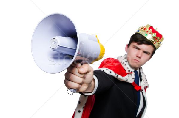 Homem coroa megafone isolado homem branco branco Foto stock © Elnur