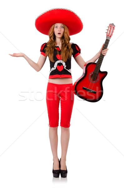 Vrouw gitarist sombrero witte partij gitaar Stockfoto © Elnur