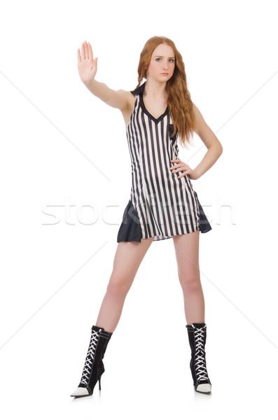 Mulher juiz isolado branco mão esportes Foto stock © Elnur