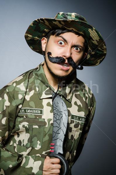 Engraçado soldado escuro homem verde guerra Foto stock © Elnur